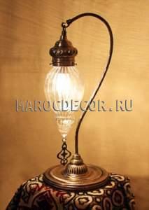 Восточная лампа  арт.Т-188М ,настольная, турецкая, стеклянный плафон
