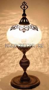 Восточная лампа настольная  арт.FO-022Y, стеклянный плафон в турецком стиле с ажурным декором