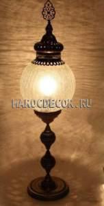 Восточная лампа настольная арт.FC-025D, высокая ножка, стеклянный плафон в турецком стиле