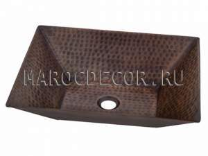 Прямоугольная раковина из меди арт.СU-16, производство Марокко