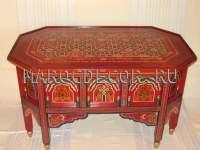 Восточный  столик с резьбой и росписью арт.TM-225