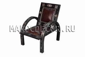 Марокканское кожаное кресло-стул арт.SH-31, ручная работа