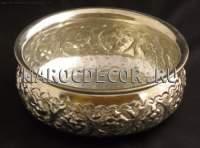 Чаша для омовения с чеканкой арт.CR-07, арабский стиль, чеканка ручной работы, цвет- серебро