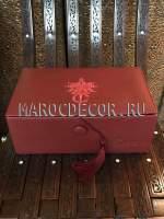 Марокканская кожаная шкатулка декорированная бархатом арт.TDL-38