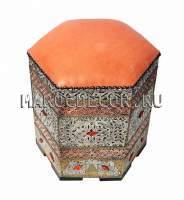 Оранжевый марокканский пуфик арт. SH-04