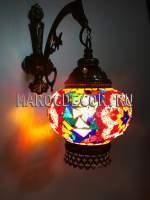 Мозаичный светильник в восточном стиле, цветочный узор мозаики
