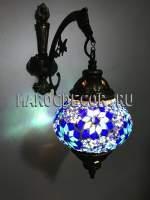 Турецкий мозаичный светильник бра, цвет плафона-сине-белый