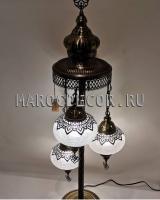 Напольная лампа 3 плафона стекло и чеканка арт.LAC-614, Турция