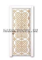 Восточная дверь с росписью белого цвета фото марокдекор