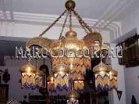 Марокканская люстра ручной  работы с бисером 8 дополнительных плафонов