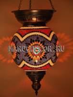 Мозаичный подвесной светильник шар с короной арт.SHM-030/2