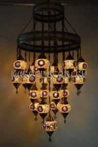 Каскадная мозаичная люстра арт.SСHU7-24 с мозаичными плафонами
