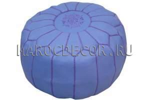 Марокканский кожаный пуф фиолетовый