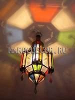 Марокканский фонарь с цветными стеклами арт.MAROC-62