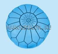 марокканский кожаный пуфик голубой