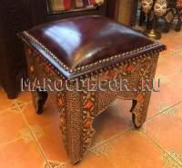 Марокканский кожаный пуфик арт.SH-41, есть в наличии