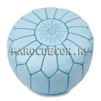Марокканский кожаный пуф голубой