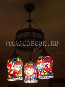 Потолочная люстра стиль Мозаика арт.CНА316, красный плафон