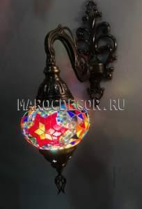 Восточный светильник из мозаики арт.WM-014/10, красная звезда