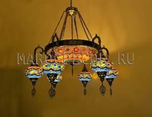 Турецкая люстра на 6 плафонов цветная мозаика арт.HM-06/16