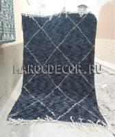 Берберский ковёр из овечьей шерсти черный 280х160 см арт.ВR-56