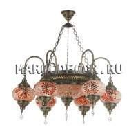 Люстра мозаичная рожковая красные плафоны арт.CBM-015T/6-4