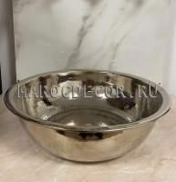 Серебристый тазик в турецкую баню без ручек арт.HM-22