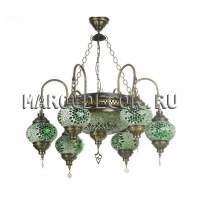 Люстра подвесная рожковая зеленая мозаика арт.CBM-015T/6-3