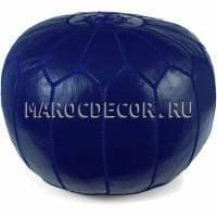 Пуфик синий из Марокко кожаный арт.SU-19