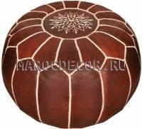 Пуф кожаный из Марокко арт.SU-18, коричневый