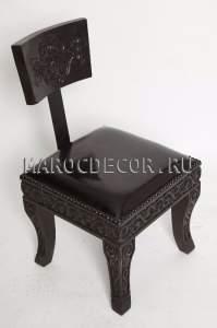 Cтул  в марокканском стиле арт. SH-11,массив кедра , натуральная кожа.