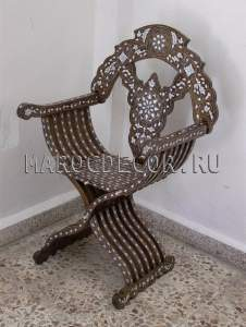 Восточное резное кресло арт.SH-23, с перламутром, ручная работа