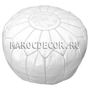 Марокканский кожаный пуф белый арт.SU-17
