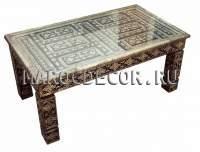 Восточный прямоугольный стол с чеканкой