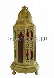 Настольная  марокканская лампа  фонарь с чеканкой и стеклом