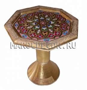 Купить восточный стол восьмиугольный стол с чеканкой картинка МАРОКДЕКОР