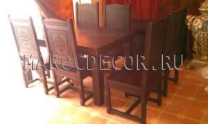 Резной стол и стулья для гостиной в восточном стиле арт.TAB-305